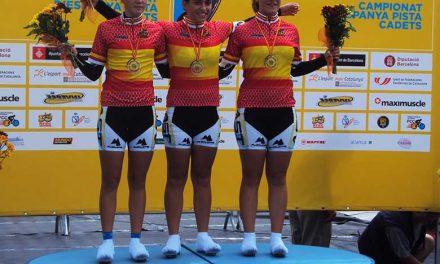 Asturias medalla de Oro en persecución por equipos. Nacional de Pista Cadete.