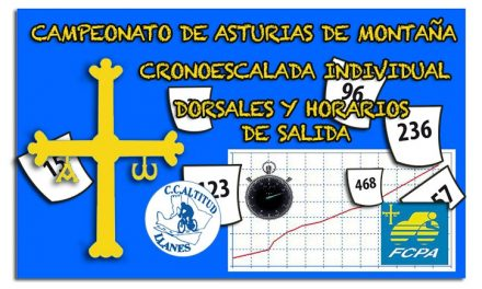 Dorsales oficiales y orden de salida del CTO. de Asturias de Montaña