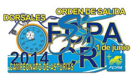 Orden de salida y dorsales CTO. de Asturias C. R. I.