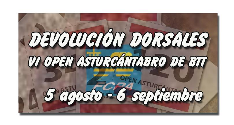Devolución dorsales VI Open Asturcántabro de BTT