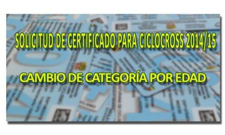 Solicitud de certificado para cambio de categoría en CX