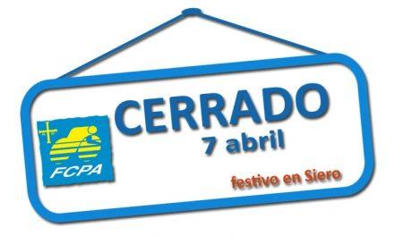 Cerrado el próximo 7 de abril