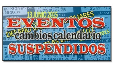 Cambios en el calendario. Eventos suspendidos.