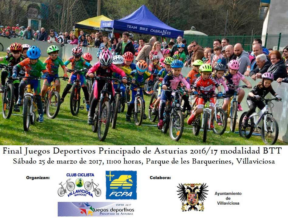 Cartel de los Juegos Deportivos del Principado 2016/17 modalidad BTT, un montón de niños y niñas en bicicleta