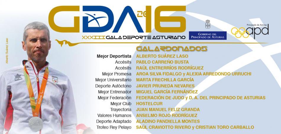 Deportistas y clubs galardonados en la XXXIII Gala del Deporte Asturiano