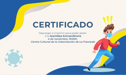IMPORTANTE: Certificado y comunicado para llevar en la Asamblea Extraordinaria